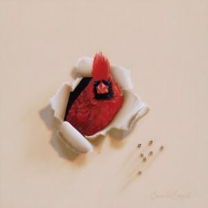 Camille Engel, Flame Head, oil, 12 x 12.