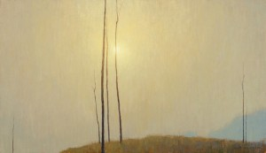 David Grossmann , Clouded Sun and Bare Trees, oil, 14 x 24.