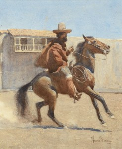 Dixon, Ranchero of Old California, watercolor, 12 x 10, Coeur d'Alene Art Auction.