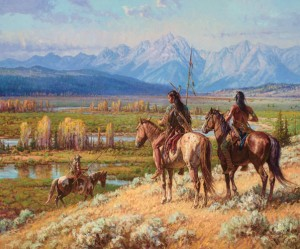 Martin Grelle, Scouts on the Buffalo Fork, oil, 40 x 48, Jackson Hole Art Auction.