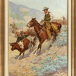 John Norval Marchand, Pointing the Beef Herd, Cattle Trail Series, oil, 38 x 24, March in Montana.