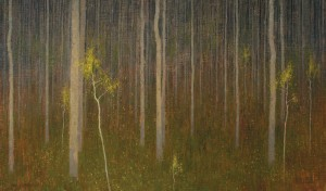 David Grossmann, Scattered Yellow Leaves, oil, 20 x 34.