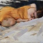 Timothy Rees, The Orange Dress, oil, 8 x 10.
