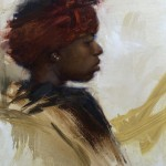 Timothy Rees, The Red Wrap, oil, 16 x 12.