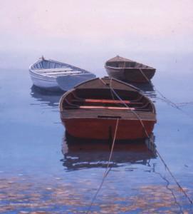 Gene McInerney, Youghal Harbor Boats, oil, 23 x 21.