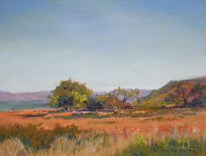 Ginny Burdick, View From the Highway, pastel, 9 x 12.