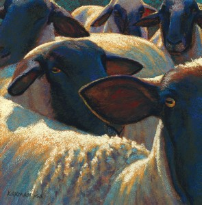 Rita Kirkman, 4 and a Half Sheep, pastel, 16 x 16.