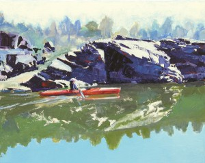 Timothy Mulligan, Reflections on Lake Natoma, acrylic, 16 x 20.