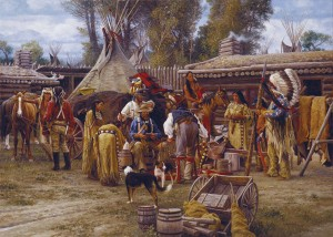 Karin Hollebeke | Trading Days at Bridgers Fort, 1843, oil, 20 x 28.