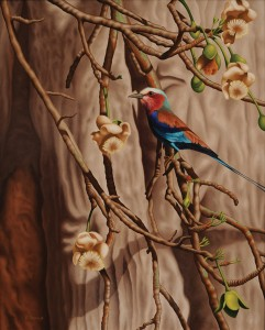 Robert Louis Caldwell, Colors in the Canopy (lilac-breasted roller), oil, 24 x 30.