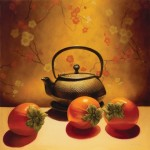 Sarah van der Helm, Persimmons with Teapot, oil, 21 x 21.