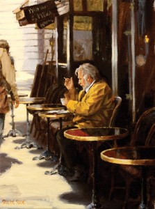 Pauline Roche, At the Café, oil, 12 x 9.