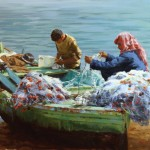 Pauline Roche, Preparations for Fishing, oil, 20 x 24.