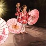 Pauline Roche, Umbrella Dance, oil, 18 x 18.