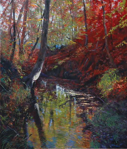 William Jameson, Reflections on Red Bank Creek, oil, 56 x 48.