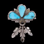 Jolene Eustace, feather pin/pendant, sterling/turquoise/gold, 3h.