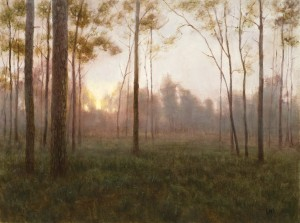 Deborah Paris, Dusk, Edge of the Woods, oil, 18 x 24.