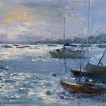 Joy Jackson, Evening at Stonington Harbor, oil, 12 x 16.
