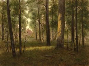 Deborah Paris, Last Light in the Woods, oil, 18 x 24.