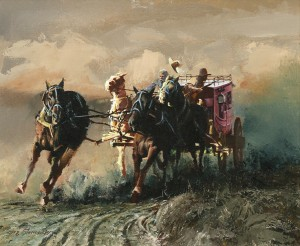 Oleg Stavrowsky, A Run for Cover, oil, 20 x 24. Estimated: $11,000-$13,000.