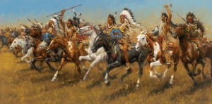 Andy Thomas, Crow Thunder, oil, 24 x 48. Estimated: $30,000-$50,000.