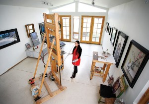 Andrea Kemp at her studio in Golden, CO.