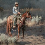 Tom Browning, Waitin' for Action, oil, 18 x 22.