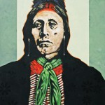 Nocona Burgess, Two Hatchett in Black Shawl, acrylic, 48 x 3-.