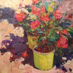 Catherine Elliott, Potted Roses, oil, 12 x 12.