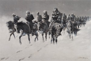 Frederic Remington, Thirty Below and a Blizzard, oil, 27 x 40. Estimate: $500,000-$700,000.