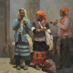 Mian Situ, Among Friends, oil, 34 x 32.