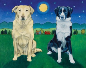 Stacey Neumiller, Two Dog Night, oil, 24 x 30.