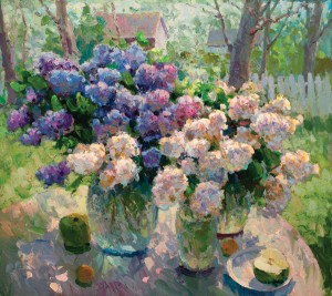 Gregory Packard, Lilacs Outside, oil, 30 x 34.