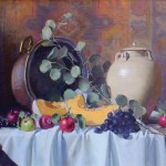 Joan Potter, Apples and Melon, oil, 20 x 24.