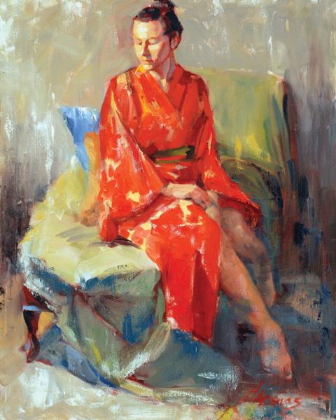Heather Arenas, Red Kimono, oil, 24x30