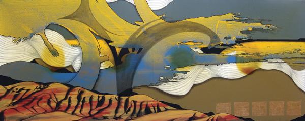 Aden Catalani, John Day, mixed media, 48 x 120.