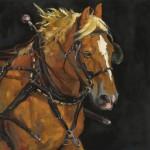 Sally Fuess, Belgian Express, oil, 20 x 20.