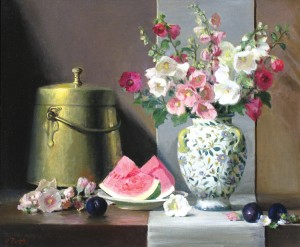 Joan Potter, Hollyhocks, oil, 25 x 30.