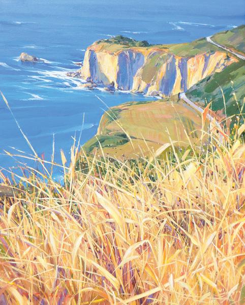 William Hook, Pacific Headland, acrylic, 30 x 24.