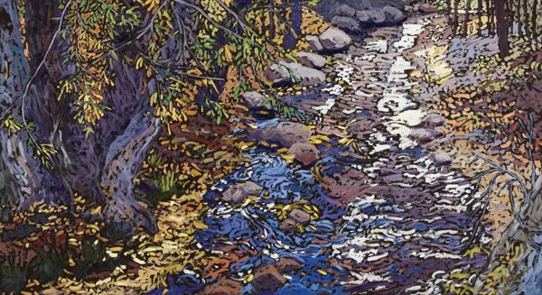 Deb Komitor, Gently Down the Stream, oil, 24 x 44