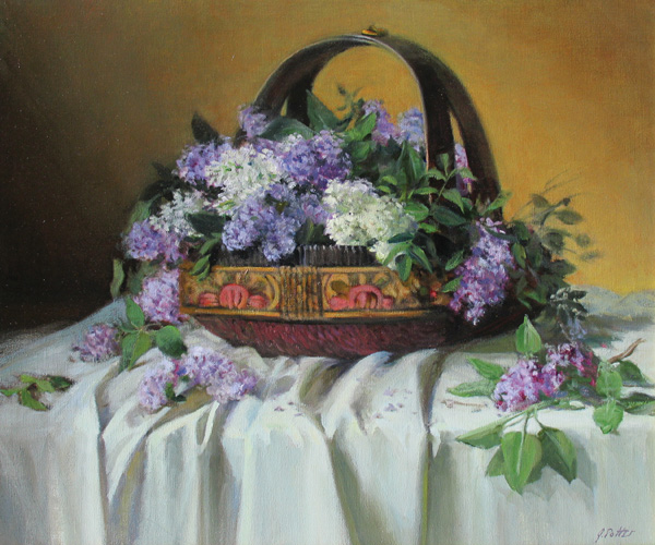 Joan Potter, Lilacs, oil, 22 x 26.
