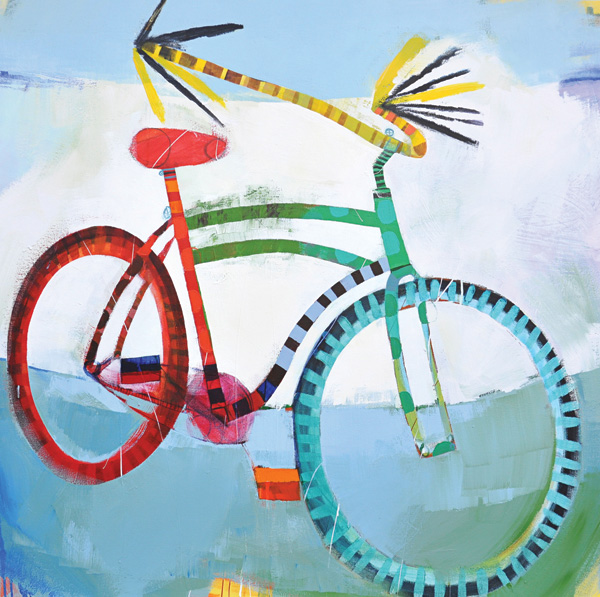 Wendeline Matson, Green and Red Roadmaster, acrylic, 48 x 48.