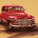 William Matthews, Big Red Taxi (Cuba), watercolor, 16 x 20.