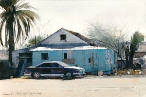 Dean Mitchell, Parking on the Reservation, watercolor, 10 x 15.