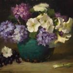 Elizabeth Robbins, Hydrangeas and Petunias, oil, 14 x 18.