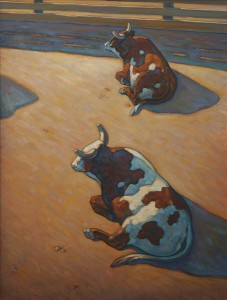 Howard Post, Sitting Bulls, oil, 40 x 30.