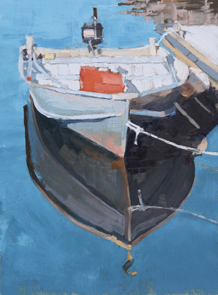 Stephanie Hartshorn, Skiff Reflected, oil, 12 x 9.