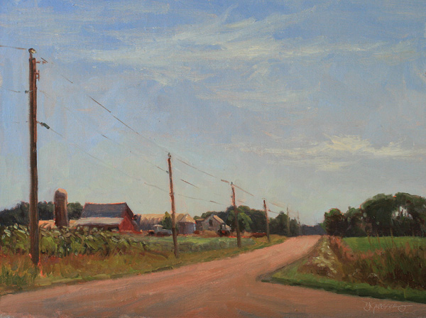 Debra Joy Groesser, Summer Morning Along County Road V, oil, 12 x 16.