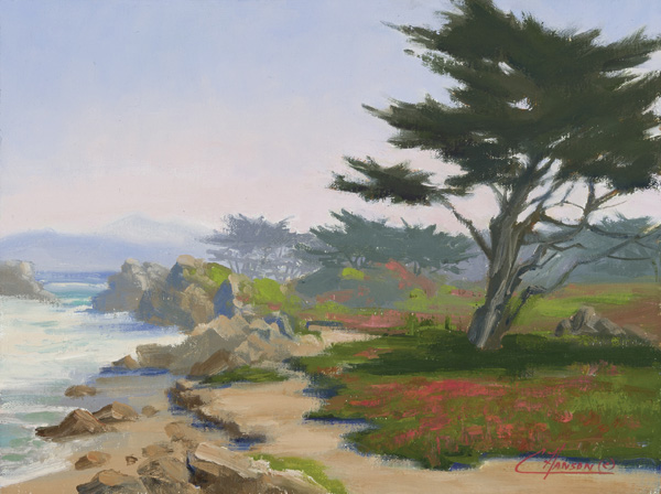Coraly Hanson, Misty Cypress, oil, 9 x 12.