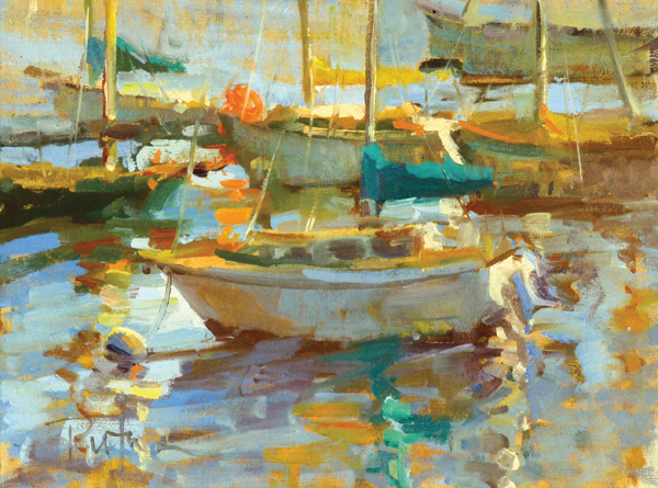 Lori Putnam, Wharf Speed, oil, 9 x 12.